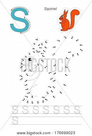 Vector exercise for alphabet with kid educational games to learn handwriting, with easy game level for preschool children. Connect dots by numbers. Tracing worksheet for letter S. Squirrel.