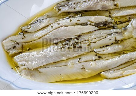 a pile of anchovies in vinegar isolated on a white background