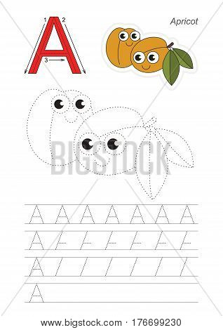 Vector illustrated worksheet. Learn handwriting. Gaming and education. Page to be traced. Easy educational kid game. Simple level. Complete eng alphabet. Tracing worksheet for letter A. Apricots.