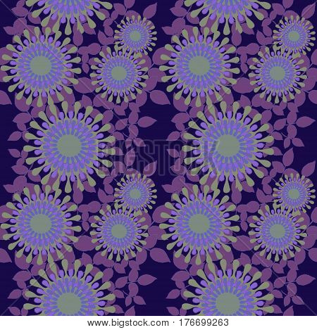 Abstract geometric seamless floral background. Regular round blossoms in purple shades with pale green elements, ornate and dreamy.