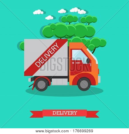 Vector illustration of small delivery truck. Delivery service concept flat style design element.