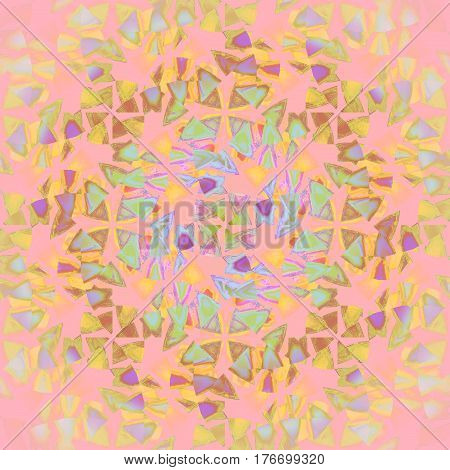 Abstract geometric seamless background multicolored. Regular modern triangles pattern in yellow green, turquoise and purple shades on pink overlaying.
