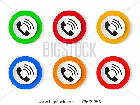 Phone icon in trendy flat style isolated on white background. Handset icon with waves. Telephone symbol for your design, logo, UI