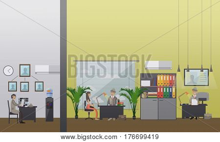 Vector illustration of private detectives working at office. Detective agency or office interior. Flat style design elements.