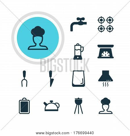 Vector Illustration Of 12 Restaurant Icons. Editable Pack Of Furnace, Faucet, Kitchen Dagger And Other Elements.