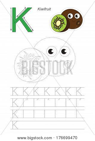 Vector illustrated worksheet. Learn handwriting. Gaming and education. Page to be traced. Easy educational kid game. Simple level. Complete eng alphabet. Tracing worksheet for letter K. Kiwi.