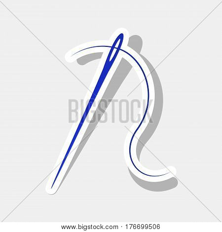 Needle with thread. Sewing needle, needle for sewing. Vector. New year bluish icon with outside stroke and gray shadow on light gray background.