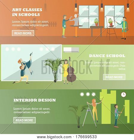 Vector set of art and craft horizontal banners. Art classes in schools, Dance school and Interior design concept in flat style.
