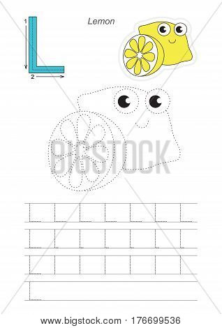 Vector illustrated worksheet. Learn handwriting. Gaming and education. Page to be traced. Easy educational kid game. Simple level. Complete eng alphabet. Tracing worksheet for letter L. Lemon.