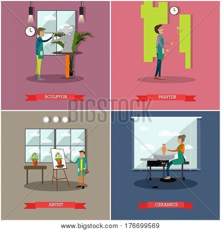 Vector set of arts and crafts professionals posters. Sculptor, Painter, Artist and Ceramics concept design elements in flat style.