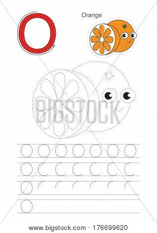 Vector illustrated worksheet. Learn handwriting. Gaming and education. Page to be traced. Easy educational kid game. Simple level. Complete eng alphabet. Tracing worksheet for letter O. Orange.