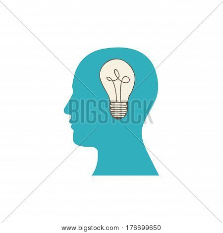 color silhouette of human face with light bulb in mind vector illustration