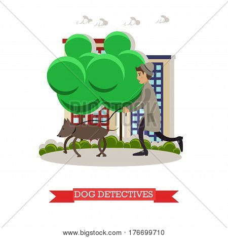 Vector illustration of detective with bloodhound dog tracking someone by following trail. Flat style design.