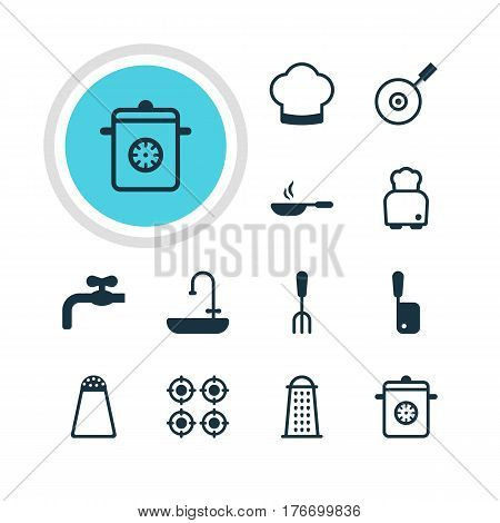 Vector Illustration Of 12 Restaurant Icons. Editable Pack Of Steamer, Butcher Knife, Faucet And Other Elements.