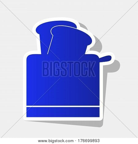 Toaster simple sign. Vector. New year bluish icon with outside stroke and gray shadow on light gray background.