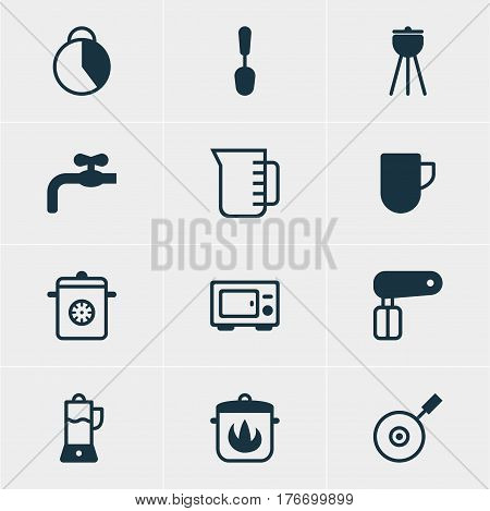 Vector Illustration Of 12 Restaurant Icons. Editable Pack Of Tea Cup, Stewpot, Fruit Squeezer And Other Elements.