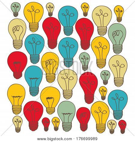 silhouette of set light bulbs multicolor vector illustration