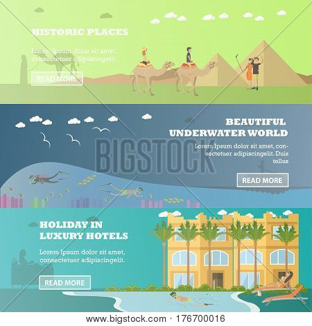 Vector set of Egypt horizontal banners. Historic places, Beautiful underwater world and Holiday in luxury hotels flat style design elements.