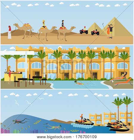 Vector set of holiday in Egypt concept posters. Beach vacation, travel to Sahara desert and rest at resort swimming pool flat style design elements.