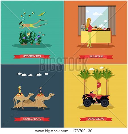 Vector set of Egypt concept posters, banners. Snorkeling, Breakfast, Camel riding, Quad biking flat style design elements.