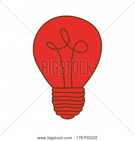 silhouette of light bulb in red color vector illustration