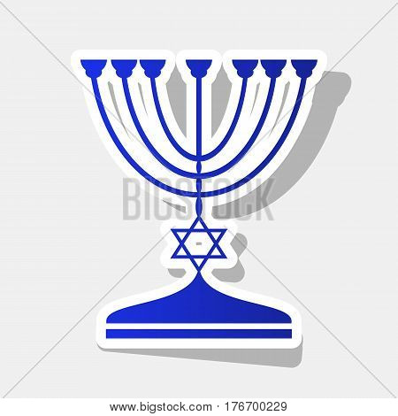 Jewish Menorah candlestick in black silhouette. Vector. New year bluish icon with outside stroke and gray shadow on light gray background.