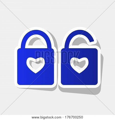 lock sign with heart shape. A simple silhouette of the lock. Shape of a heart. Vector. New year bluish icon with outside stroke and gray shadow on light gray background.