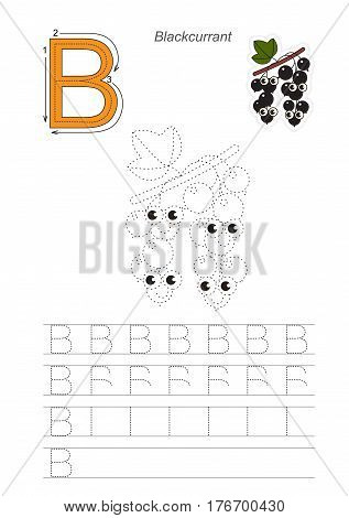 Vector illustrated worksheet to preschool children learn handwriting, the page to be traced for gaming and education with easy educational kid game level. Tracing worksheet for letter B, blackcurrant.