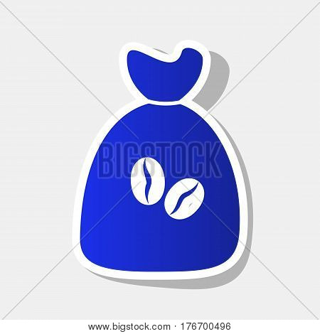 Coffee bag Icon. Coffee bag Vector. Coffee bag Icon Button. Vector. New year bluish icon with outside stroke and gray shadow on light gray background.