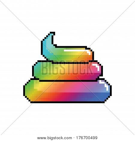 Shit Unicorn Pixel Art. Rainbow Turd Pixelated. Poop Isolated