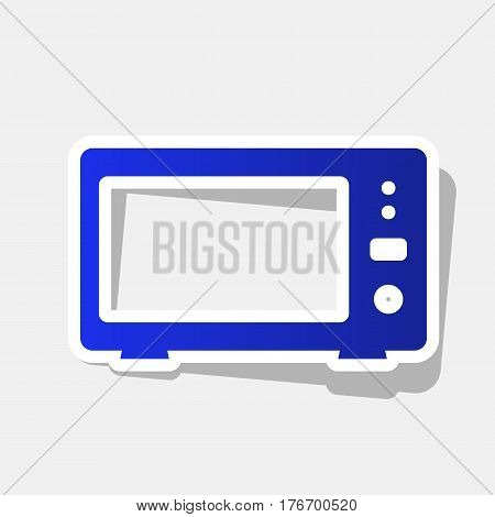 Microwave sign illustration. Vector. New year bluish icon with outside stroke and gray shadow on light gray background.