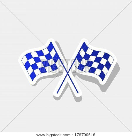Crossed checkered flags logo waving in the wind conceptual of motor sport. Vector. New year bluish icon with outside stroke and gray shadow on light gray background.