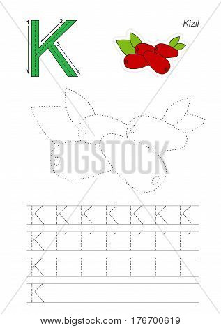 Vector illustrated page to preschool children learn handwriting. Page to be traced for gaming and education with easy educational kid game level. Tracing worksheet for letter K. The cornelia cherry.