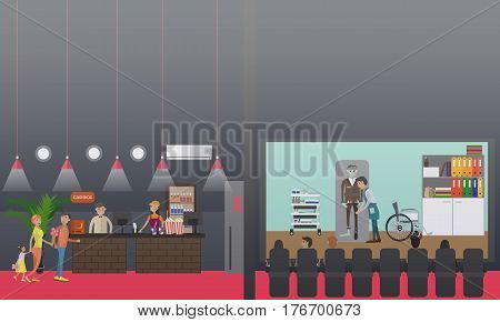 Vector illustration of episode from Frankenstein horror film based on gothic novel by Mary Shelley. Cinema cafe interior. Flat style design elements.