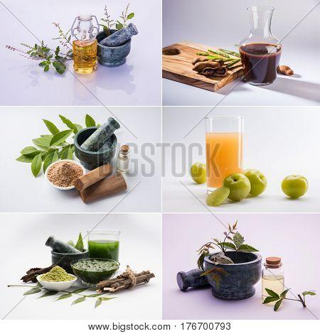 Collage of Indian Ayurvedic Tulsi, Neem, Amla or aavla, Tamarind or imli and chandan or sandalwood products and oils