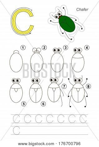 Complete vector illustrated alphabet with kid games. Learn handwriting. Easy educational kid game. Drawing tutorial for letter C. The Bronze Bug.
