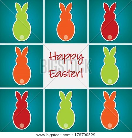 Retro Easter Bunny Card In Vector Format.