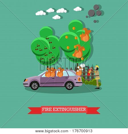 Vector illustration of fireman using extinguisher to remove fire from automobile. Fire extinguisher design element in flat style.
