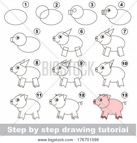 Kid education and gaming - the drawing tutorial for preschool children with easy educational kid game level, the funny drawing school. How to draw Piggy.