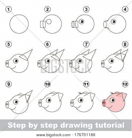 Kid education and gaming - the drawing tutorial for preschool children with easy educational kid game level, the funny drawing school. How to draw Pig head.