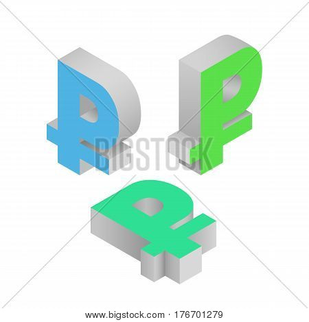 Symbol ruble currency. Isometric icons on white background. Vector 3d illustration.