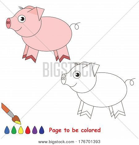 Pink piggy to be colored. Coloring book to educate preschool kids with easy kid educational gaming and primary education of simple game level of difficulty.