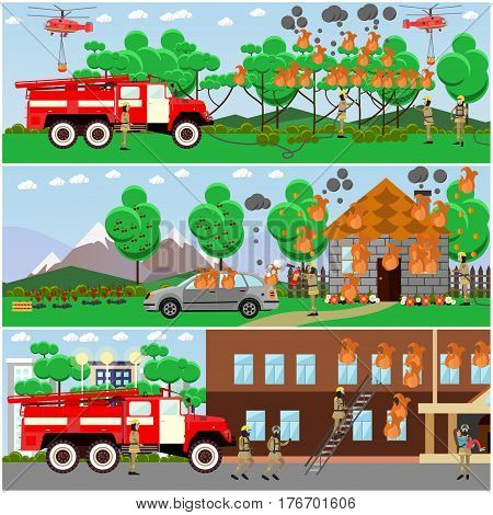 Vector set of fire posters, banners. Firefighters extinguishing fire in the forest, in city two-storied house and in cottage house. Flat style design elements.