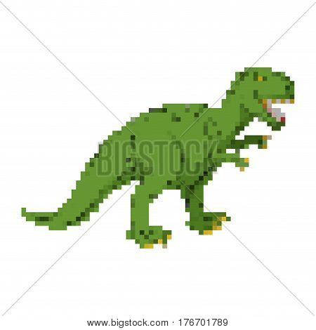 Dinosaur Pixel Art. Tyrannosaurus Pixelated. Dino Retro Games. 8 Bit Prehistoric Pangolin Monster Re