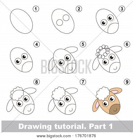 Kid education and gaming - the drawing tutorial for preschool children with easy educational kid game level, the funny drawing school. How to draw Sheep head.