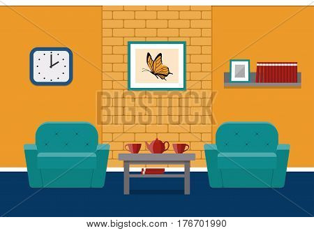 Living room interior in flat style. Vector. House design lounge with furniture and brick wall. Cartoon background.