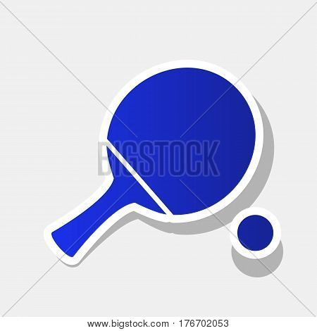 Ping pong paddle with ball. Vector. New year bluish icon with outside stroke and gray shadow on light gray background.