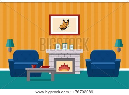 Room interior. Vector. Living design lounge with fireplace and furniture. Cartoon background in flat design.