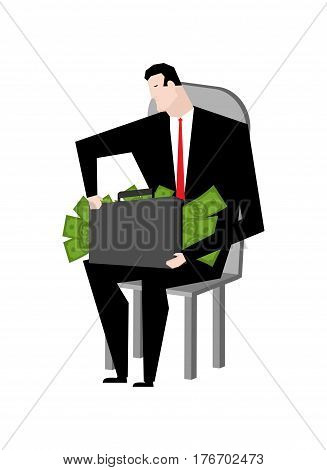 Businessman fondling money. Boss and bundle of dollars. Lot of cash and guy poster