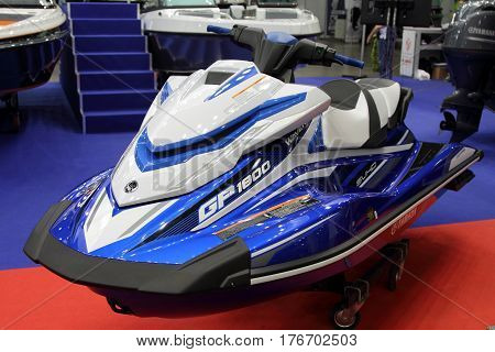 MOSCOW - MARCH 09 2017: Jet-ski Yamaha FX cruiser SVHO for 10 International boat show in Moscow. Russia.